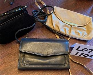 Lot 1702. $20. Style & Co  and Fossil Crossbody Purses and an unbranded evening purse in black velvet