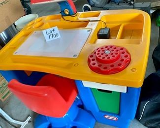 Lot 1700. $75.00  Vintage Little Tykes Desk and Chair, needs a Clean up, but looks good.