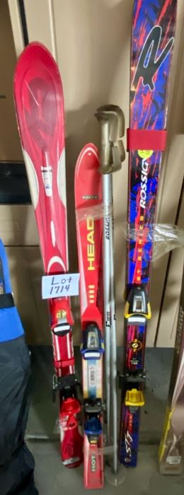 Lot 1714  $200.00    Three pair of Ski's and Bindings including Rosignol, Head and K2.  2 Poles.
