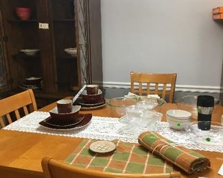 Dining Table; dishes sold separately (have brown 12 pc setting  only missing one bowl)