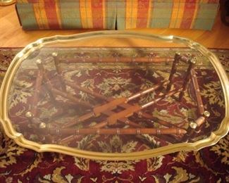 "Living Room:  A gorgeous scalloped glass/brass (removable) tray rests on a bamboo-style wooden stand.  The tray measures 28"" wide x 42"" long.  This is a great piece for a contemporary or traditional decor."