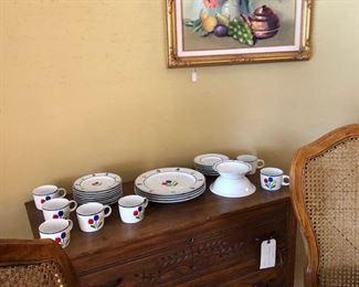 Fruit oil painting, oak buffet/chest, Tulip Tyme Stoneware