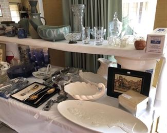 Great fish platter, pottery, and crystal items.