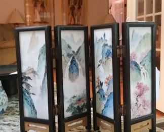 A Chinese Table Screen, four soapstone panels hand painted.