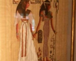 "Egyptian papyrus Sakkara Egypt ""Isis and Nefertiti""."