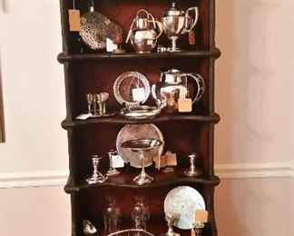 Chinoiserie cabinet, with collection of various Sterling and Silver Plate table articles.