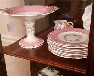 Pink Porcelain eight piece dessert service. 19th Century English, possibly Rockingham.