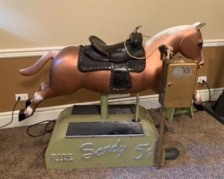 Fully operational Sandy coin op riding horse. Set to free play. Just plug in and ride! More pics below...