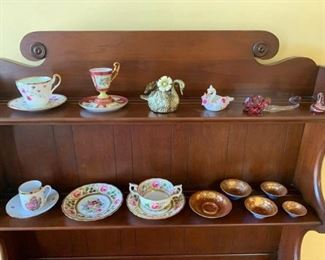Assorted China Sets, Gold Swan Figurines, Glass and Porcelain Trinkets