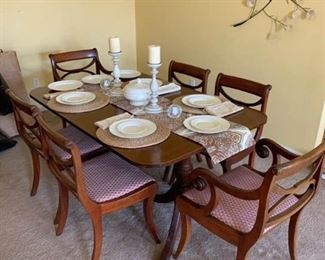 Dining Table with Hutch and Dish Set with Candles