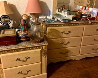 4 piece bedroom set.  Dresser, chest and 2 nightstands $300  This is a large, heavy duty set