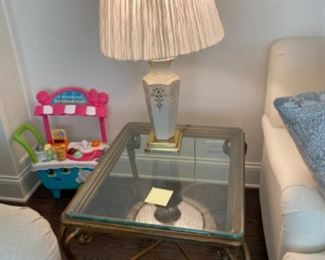 Glass top side table and table lamp