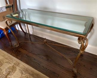 Bronze table with glass top