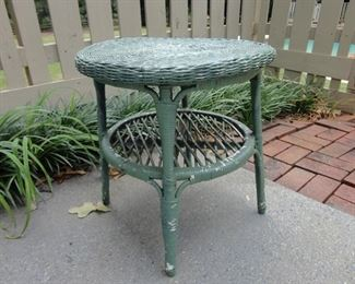 Vintage painted wicker table