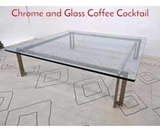 Lot 1002 70s Modern Oversized Chrome and Glass Coffee Cocktail