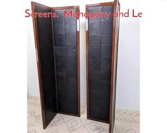 Lot 1008 Pair of Large 2 Panel Folding Screens. Mahogany and Le