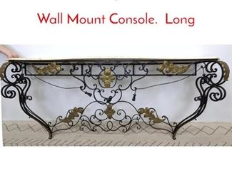 Lot 1010 French Style Iron and Marble Wall Mount Console. Long