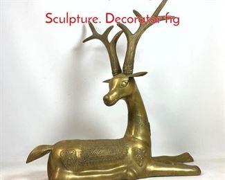 Lot 1013 Sarreid style Large Brass Deer Sculpture. Decorator fig