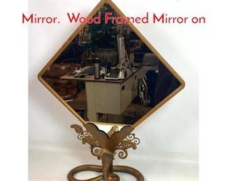 Lot 1014 EDGAR BRANDT Style Table Mirror. Wood Framed Mirror on