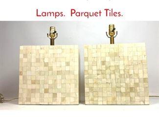 Lot 1015 Modern Style Square Table Lamps. Parquet Tiles.