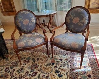 "Pair of Embroidered Damask Arm Chairs - 40""H X 20"" W"