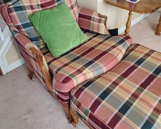 Sherrill Traditional Plaid Chair & Ottoman