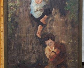Art Children Oil On Board