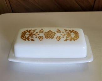 Pyrex Butterfly Gold butter dish.
