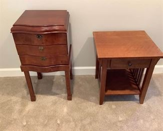 Two Wooden Side Tables with Storage