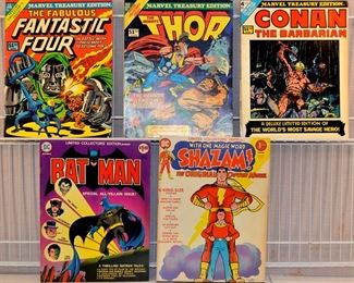 Marvel Comic & DC Comic Book: Marvel Treasury Edition,Conan 4, Thor 10, Fantastic Four 11, DC Famous First Edition, DC Limited Collector's Edition: Batman c-37, Shazam C-21