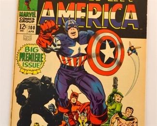 Select Language​▼ Lot 211: Marvel Comic books , Captain America 1 st series #100, Jack Kirby Cover, Black Panther