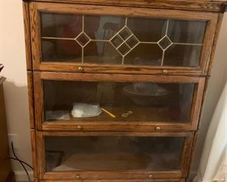 #10Barrister Bookcase 4 Shelves w/Leaded Glass on top (Faux) 37x14x54 $175.00