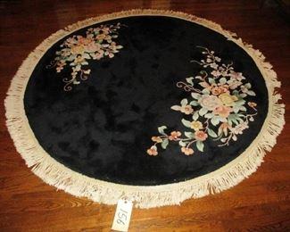 Hand woven Chinese Black Round Rug