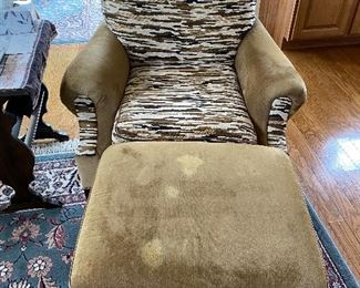Chair with ottoman custom upholstered