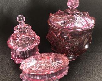 Lot of 3  Cranberry Fenton & Mosser Glass antique vanity jars.   $48.00