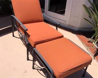 Heavy cast aluminum Patio Lounge Chair & ottoman Sunbrella cushions, all in very good condition.  $180.00