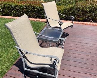 WINSTON Haleyville, Alabama.   Cast aluminum  swivel  lounge patio chairs & table.  Retail value $659. each! Both in excellent condition.  Now $300. Set of 3 piece.