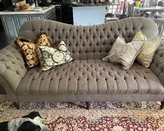 Gray Linen Tufted Couch $500