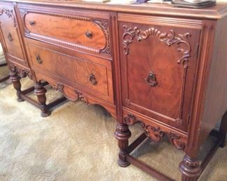 Walnut Rococo Revival Sideboard Buffet,  Applied Molding, Acorn Legs