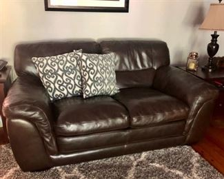 Pair brown leather sofas