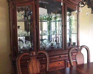 China cabinet, glass ware & serving pieces