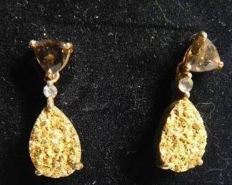 Golden Drusy Quartz Earrings