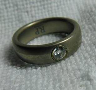 Titanium w/ White Zircon Men's Ring