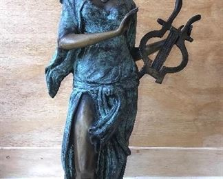 European heavy bronze Lady with Harp