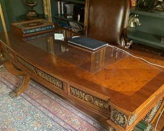 Walnut and bronze desk