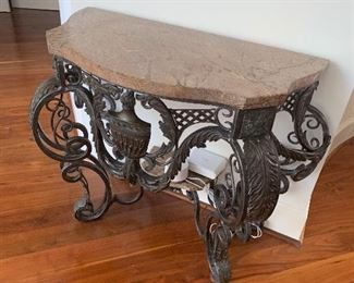 Heavy marble top table with bronze base