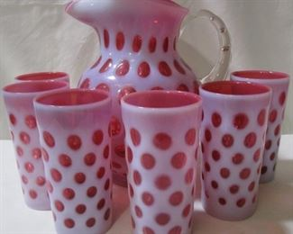 Lot# 352 - Fenton Coin Dot Pitcher and Glasses