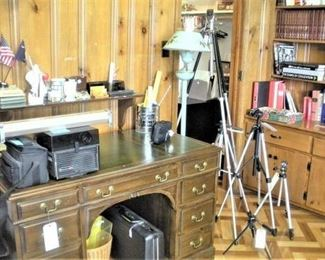 Vintage Leather Top Desk, Office and Photographic Equipment.