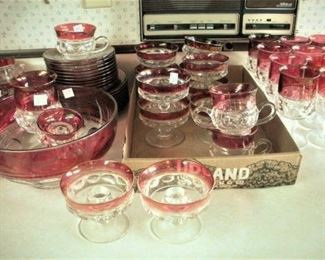 Vintage Kings Crown Glassware...Plates, Bowl, Cream Sugar, Goblets, Candlesticks and Cup & Saucer sets.