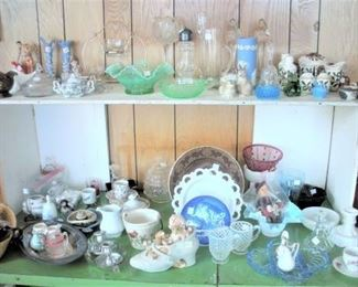 A sampling of the Crystal, Depression, Waterford Glassware, English Bone China, Silver and Silver Plate available....multiple tables full.